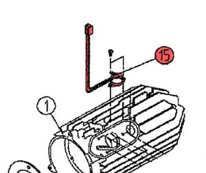 15) Overheat thermostat assembly