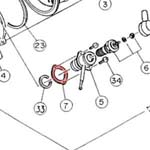 7) Packing (glow plug boss gasket)